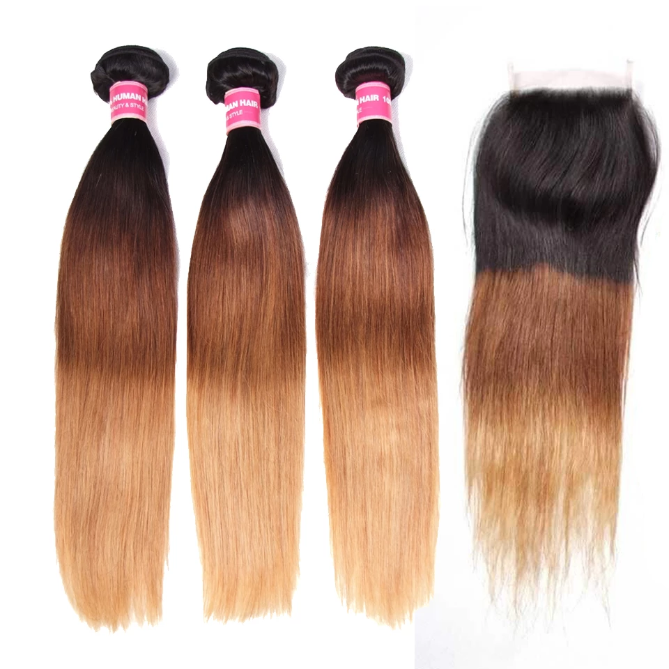 lumiere Hair Brazilian Ombre Straight 3 Bundles with 4X4 Closure Human Hair Free Shipping