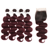 lumiere 1B/99J Ombre Body Wave 4 Bundles With 4x4 Lace Closure Pre Colored human hair