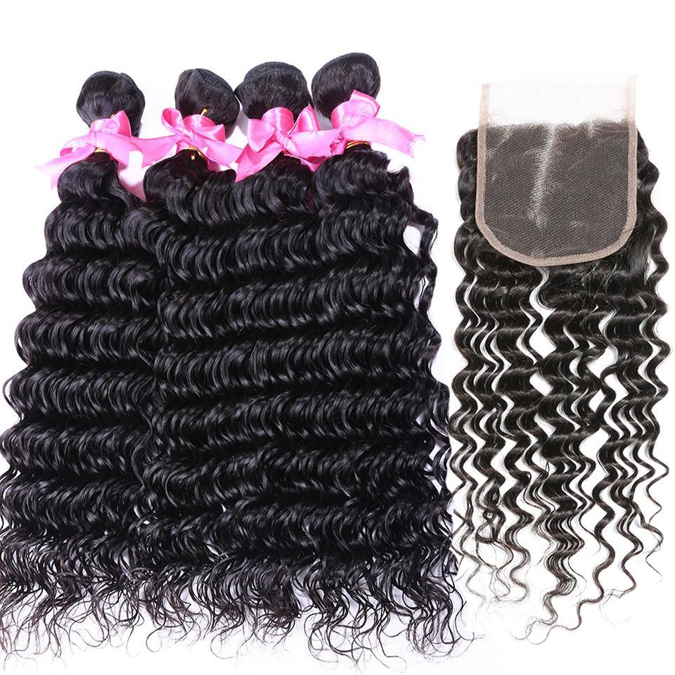 lumiere Malaysian Virgin Hair  Deep Wave 4 Bundles with 4X4 Lace Closure