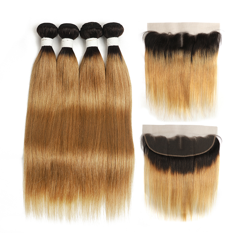 lumiere 1B/27 Ombre Straight Hair 4 Bundles With 13x4 Lace Frontal Pre Colored Ear To Ear