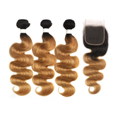 Lumiere Ombre 1B/27 Body Wave 3 Bundles With Closure 4x4 pre Colored 100% virgin human hair