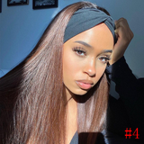 #4 Straight Headband Human Hair Wigs Full Machine Made Wig None Lace