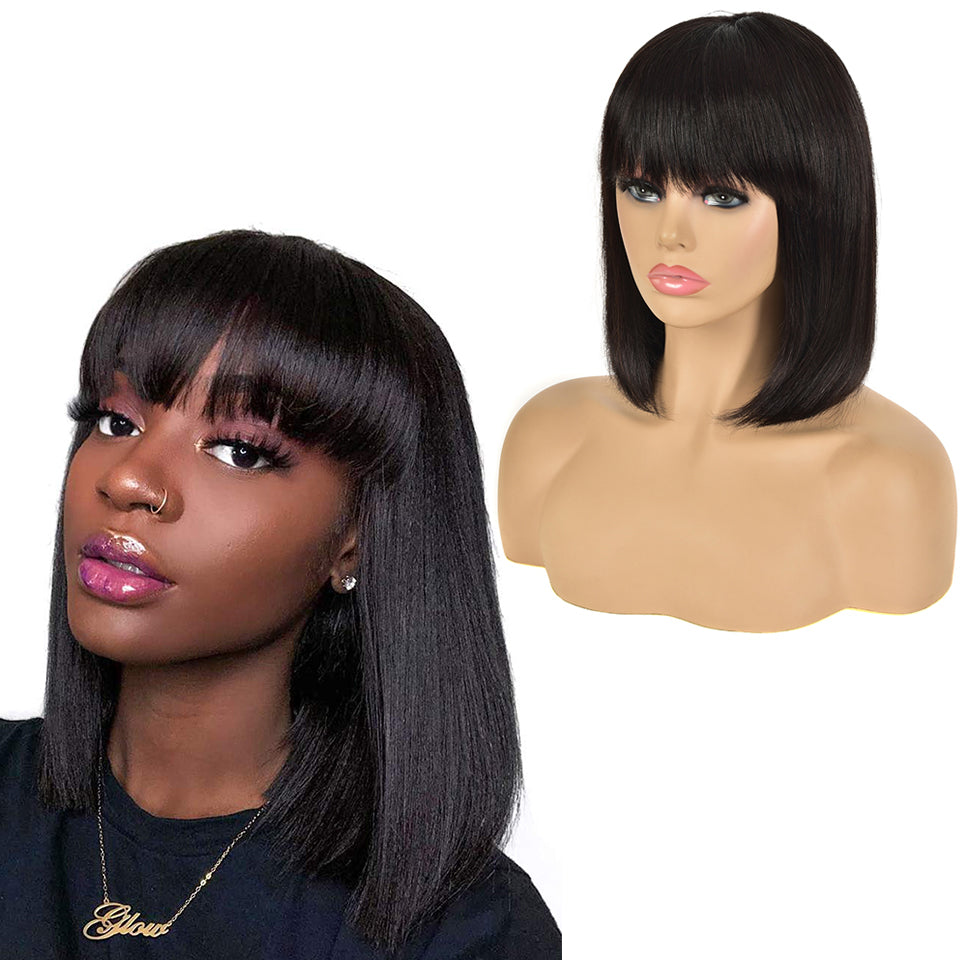 Straight Bob Full Machine Made Wigs None Lace For Women 8-16 Inches Virgin Human Hair Wig