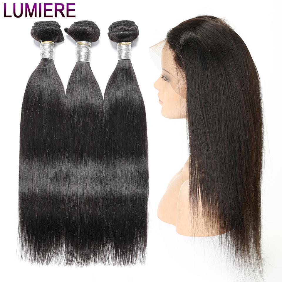 lumiere Indian Virgin Hair Straight 3 Bundles with 360 Lace frontal
