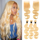 613 Blonde Body Wave 3 Bundles with 4x4 Closure with transparent lace