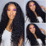 lumiere hair Indian Deep Wave Virgin Hair 4 Bundles with 4X4 Lace Closure