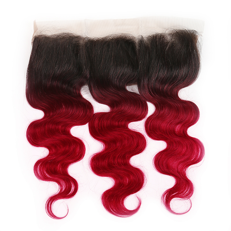 1B/BURG Ombre Body Wave 3 Bundles With 13x4 Lace Frontal Pre Colored Ear To Ear
