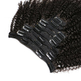 Lumiere Hair Afro curly Clip In Human Hair Extensions Natural Color 8 Pieces/Set Full Head Sets 120G Ship Free