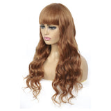 #30 Body Wave Full Machine Made None Lace wig With Bangs Virgin Human Hair Wigs