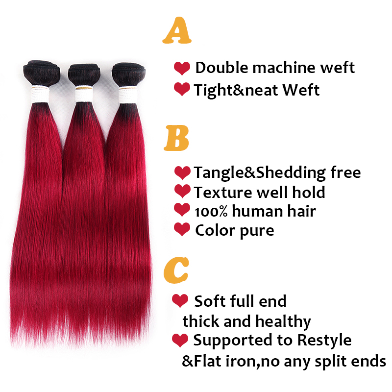 1B/BURG Ombre Straight Hair 4 Bundles With 13x4 Lace Frontal Pre Colored Ear To Ear