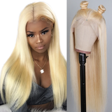 Straight hair 613 Blonde Full Lace Front human hair Wigs transparent lace 150 Density