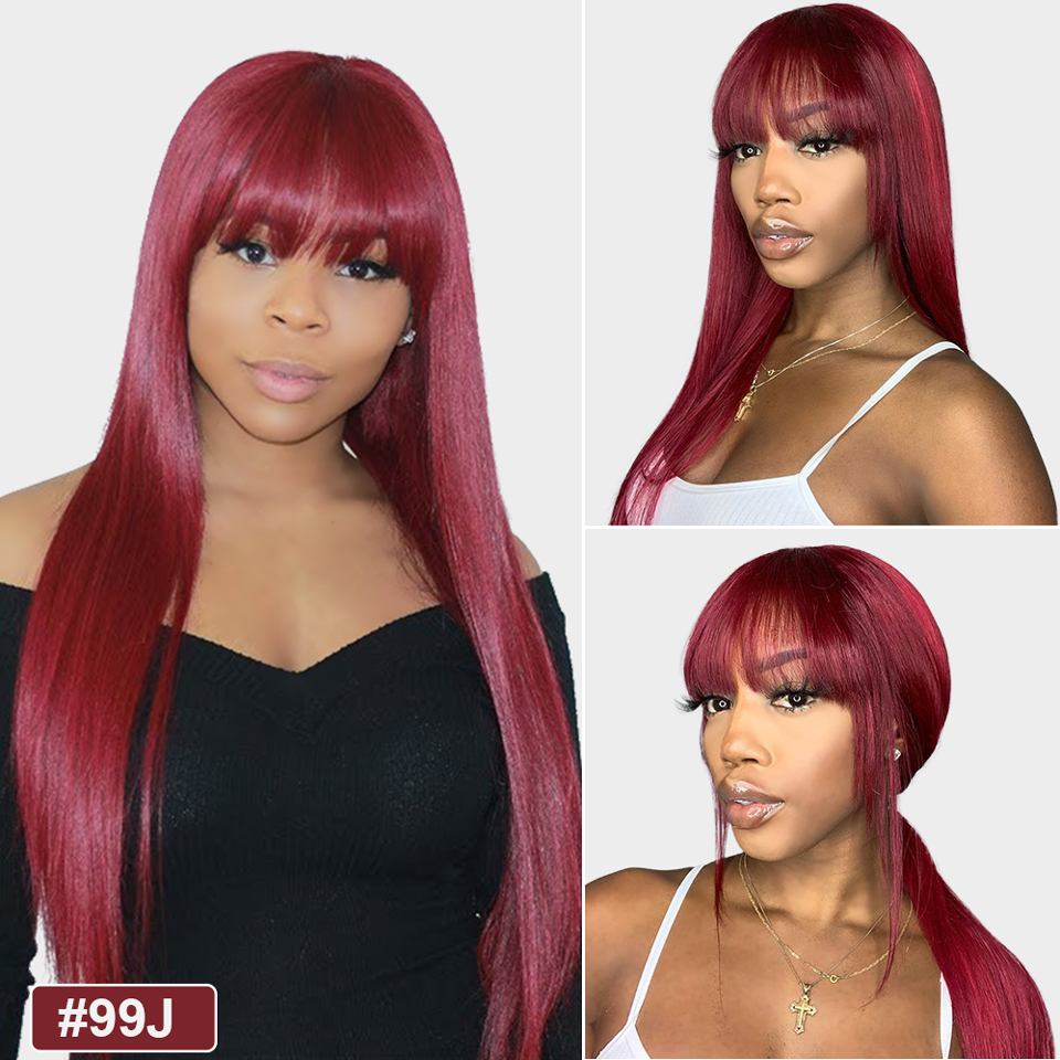 Lumiere 99j burgundy straight wig with bangs full machine made None Lace human hair wigs