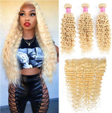 613 Blonde Deep Wave 3 Bundles with 13x4 Frontal with transparent lace