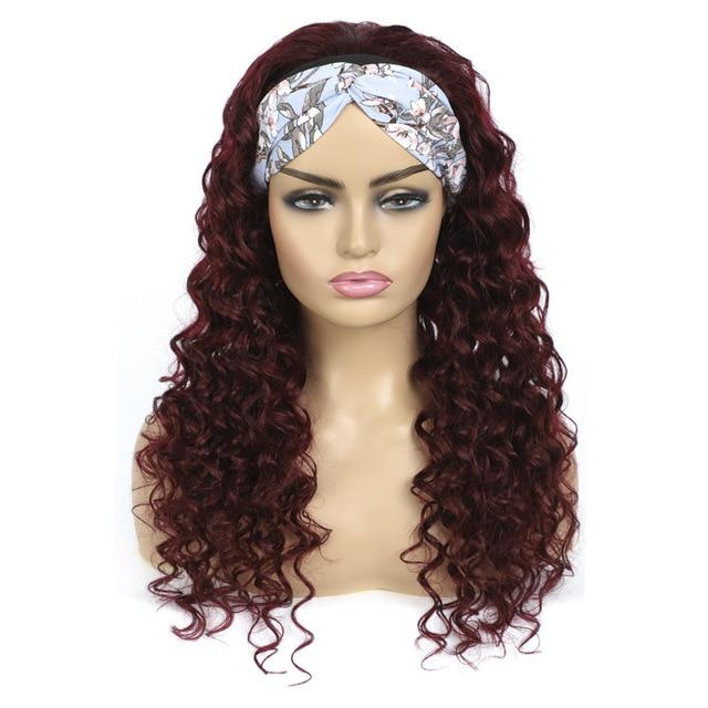 99J RedWine Kinky Curly Human Hair Headband Full Machina Made Wigs None Lace