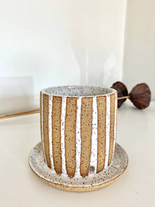 Striped planter with saucer