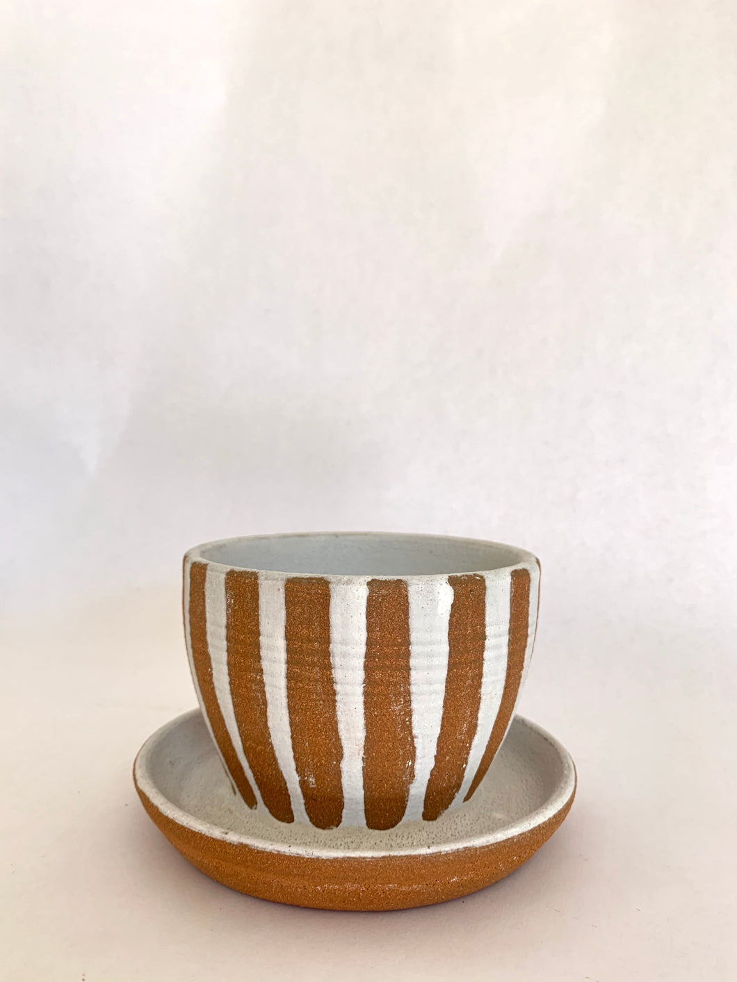 19 striped planter with saucer