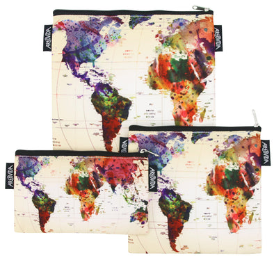 Sandwich Baggie Set - Mark Ashkenazi - World Map (Set of 3)