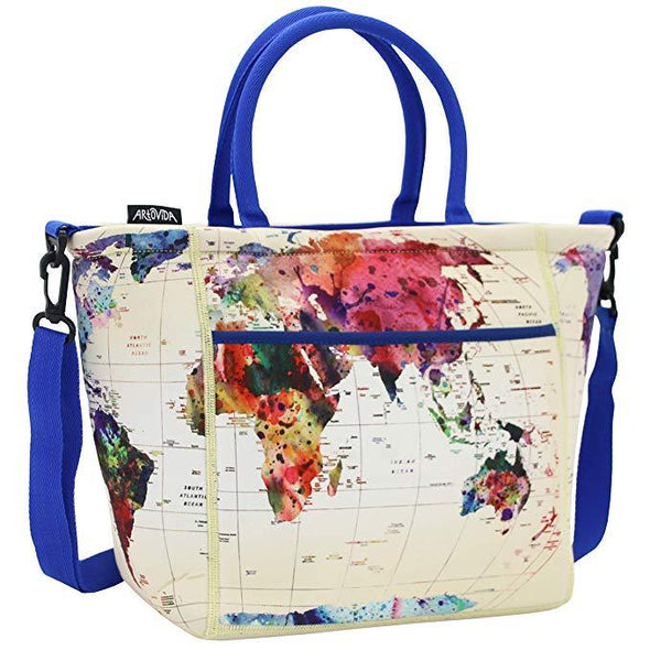 World Map - Tica Collection Extra Large Neoprene Lunch Tote