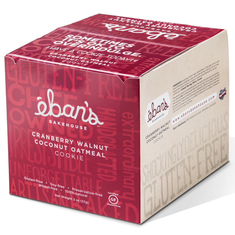 Individually packed gluten-free cookies from Éban's Bakehouse in closed point of purchase packaging