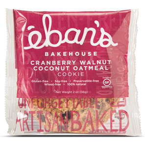 Individually packaged Gluten-free Cranberry Walnut Coconut Oatmeal Cookie from Éban's Bakehouse