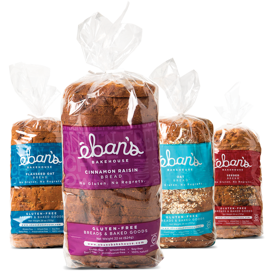 All four varieties of gluten-free bread from Éban's Bakehouse in packaging