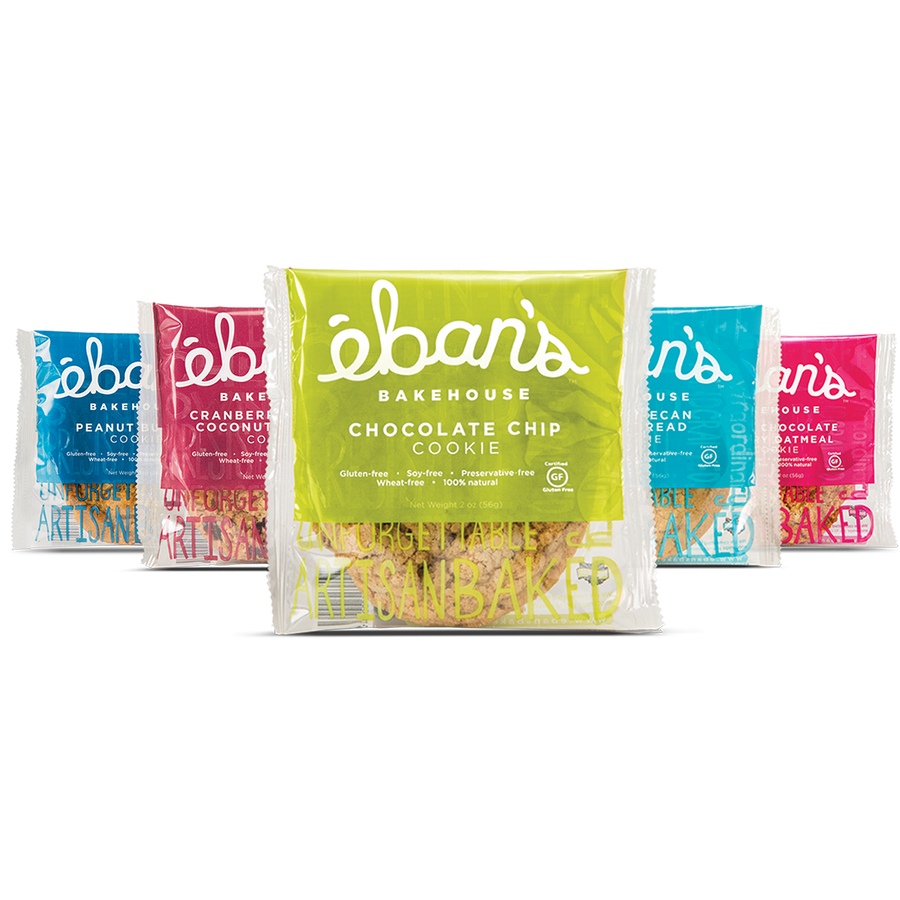 Five varieties of individually packed gluten-free Cookies from Éban's Bakehouse