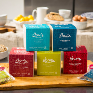 All five varieties of individually packed gluten-free cookies from Éban's Bakehouse in closed point of purchase packaging