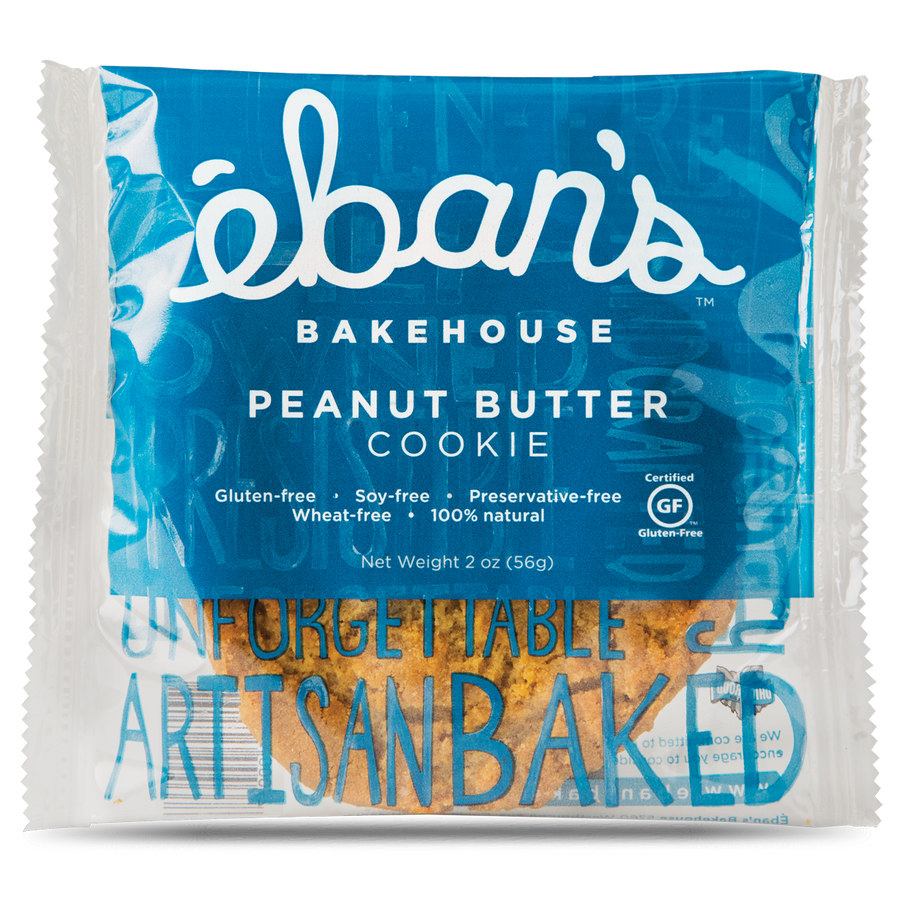 Individually packaged Gluten-free Peanut Butter cookie from Éban's Bakehouse