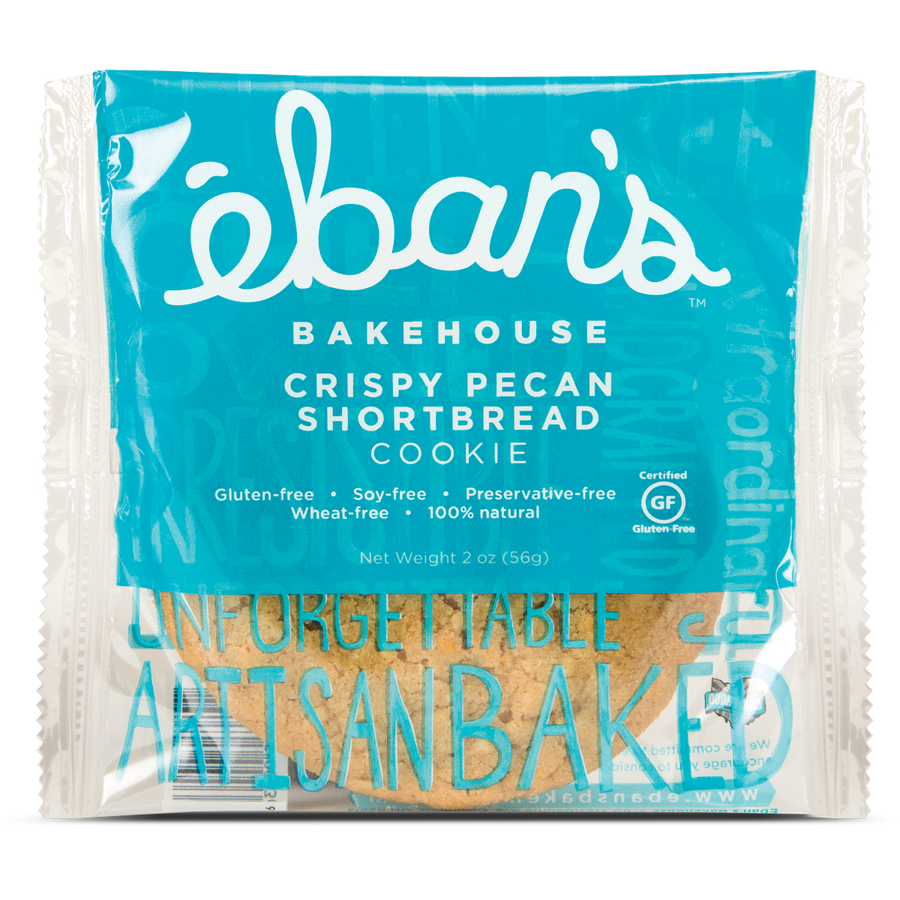 Individually packaged Gluten-free Crispy Pecan Shortbread cookie from Éban's Bakehouse