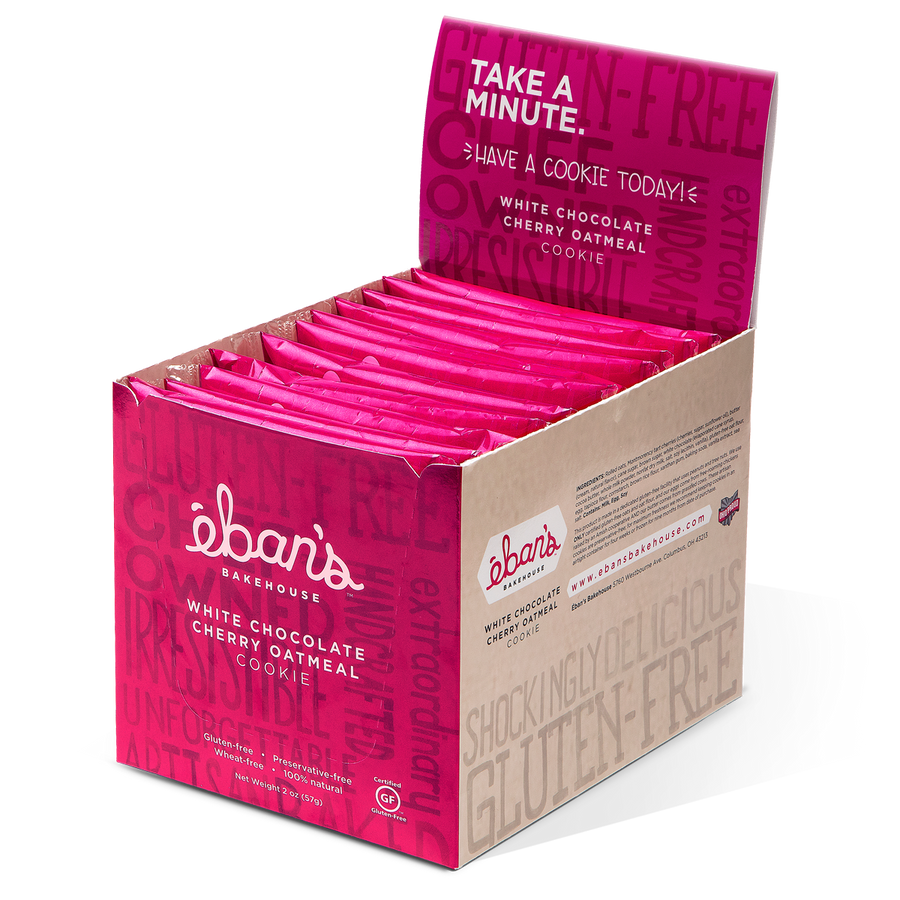 Five varieties of individually packed gluten-free cookies from Éban's Bakehouse in opened point of purchase packaging