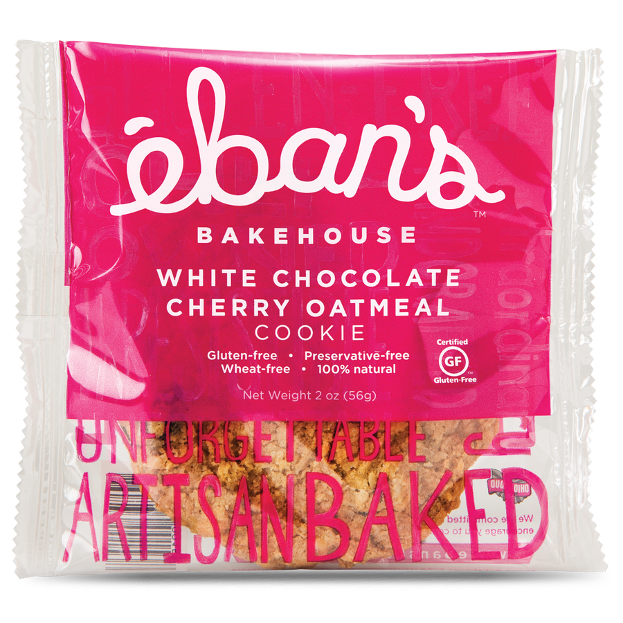 Individually packaged Gluten-free White Chocolate Cherry Oatmeal cookie from Éban's Bakehouse