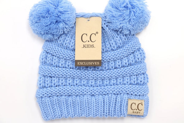 CC Beanie: Solid Double Pom Pom (Baby) (Pale Blue) - Fancy Tot