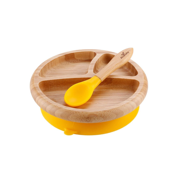 Avanchy: Bamboo Suction Baby Plate + Spoon (Yellow) - Fancy Tot