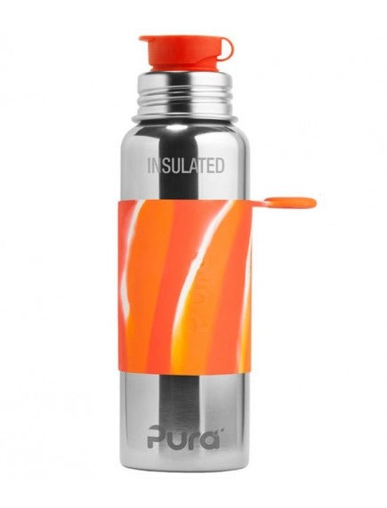 Pura Stainless: 22oz Insulated Sport Bottle (Orange Swirl Sleeve)