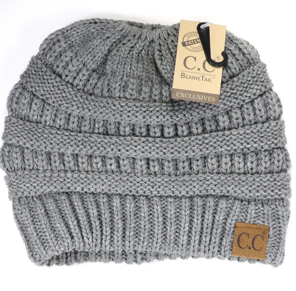 CC Beanie: Solid Classic Beanie Tail (Adult) (Light Grey) - Fancy Tot