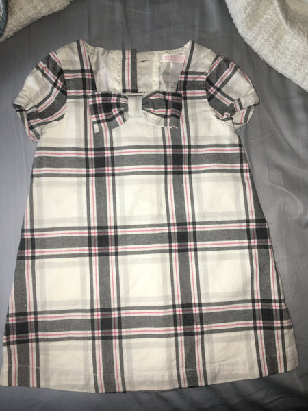 Janie & Jack Dress (Grey & Pink Plaid)