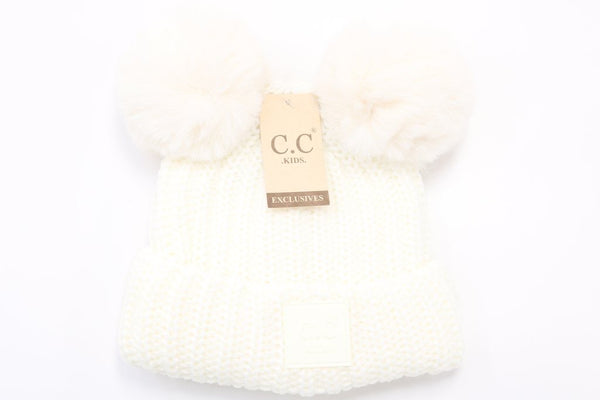 CC Beanie: Double Pom Beanie w/ Rubber Patch (Kids) (Ivory) - Fancy Tot