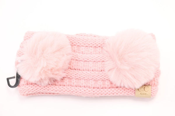 CC Beanie: Double Pom CC Headwrap (Kids) (Pale Pink) - Fancy Tot