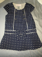 Janie & Jack Dress (Navy Blue Dots & Bow) - Fancy Tot