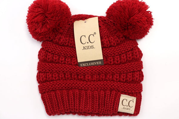 CC Beanie: Solid Double Pom Pom (Baby) (Red) - Fancy Tot