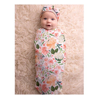 Itzy Ritzy: Cocoon Swaddle & Hat Set (Peach Floral) - Fancy Tot