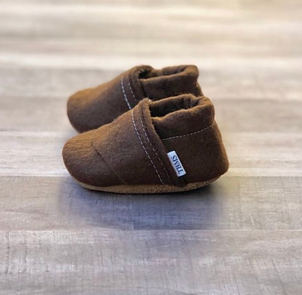 TBMS: Felt Loafers (Brown) (3-6 Months)