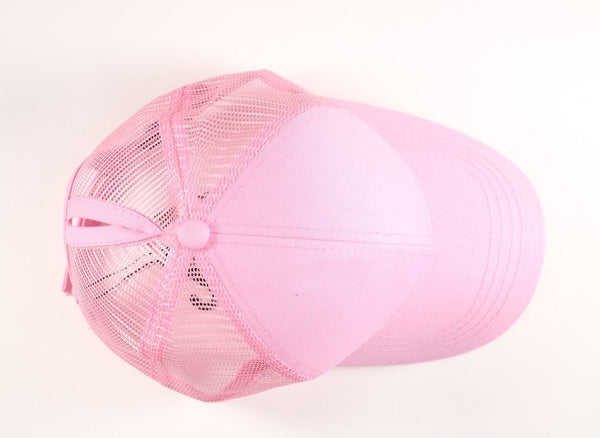 CC Beanie: Classic High Ponytail Ball Cap (Adult) (Pink) - Fancy Tot