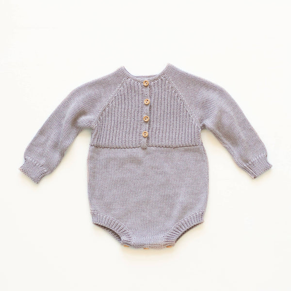 Petite Coo: Button Up Romper - Pebble - Fancy Tot