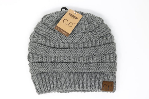 CC Beanie: Classic Fuzzy Lined Beanie (Adult) (Light Grey) - Fancy Tot