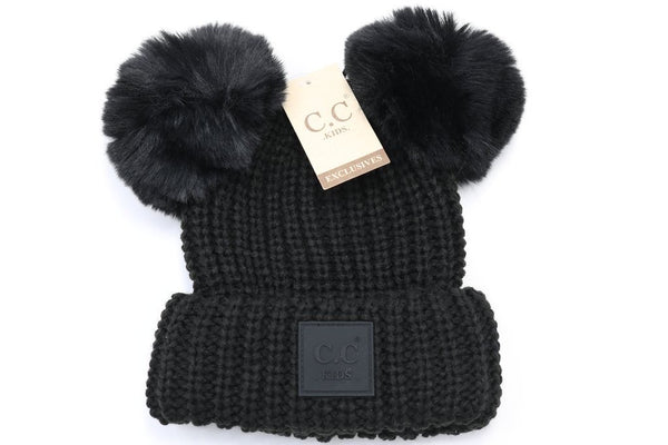 CC Beanie: Double Pom Beanie w/ Rubber Patch (Kids) (Black) - Fancy Tot