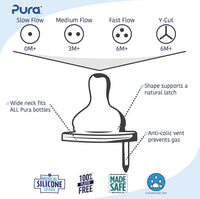 Pura Stainless: Kiki Natural Vent Nipples - Y Cut