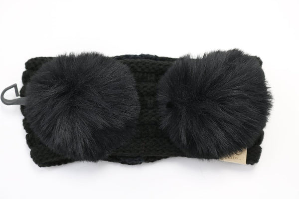 CC Beanie: Double Pom CC Headwrap (Kids) (Black) - Fancy Tot