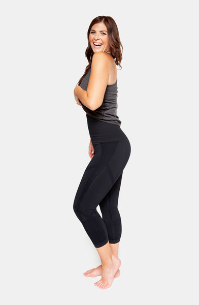 Belly Bandit: Mother Tucker Active Capri Leggings (S) (Black) - Fancy Tot