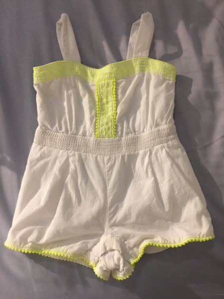 Janie and Jack Romper (White & Neon Yellow) - Fancy Tot